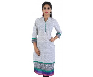 Casual Printed White Cotton Kurti