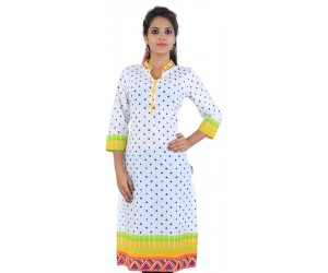 Casual Printed White Cotton Women Kurti