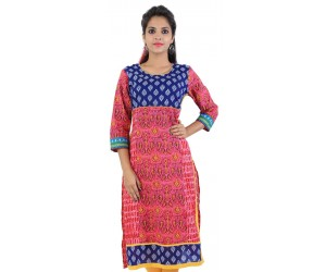 Pink Block Printed Cotton Women Kurti
