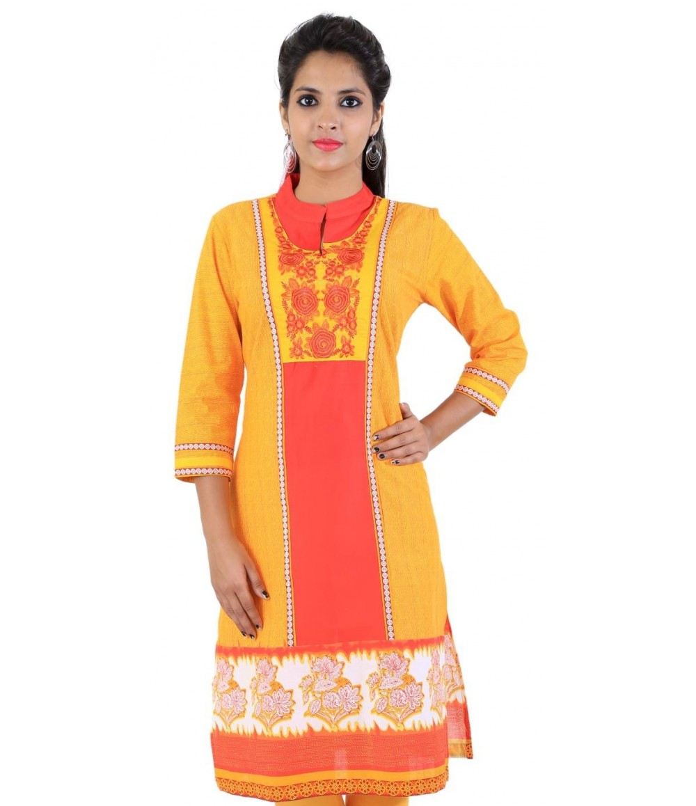 Yellow Embroidered Cotton Women's Kurti