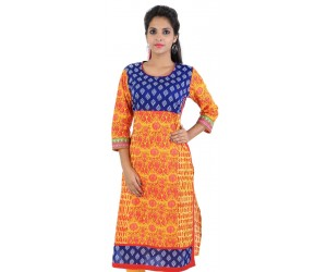 Yellow Block Printed Cotton Kurti