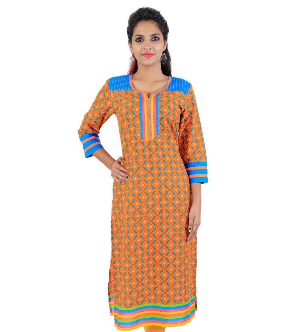 Orange Digital Printed Women's Cotton Kurti