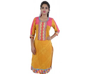 Yellow Round Neck Women's Cotton Kurti