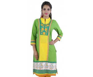 Green Embroidered Cotton Women's Kurti