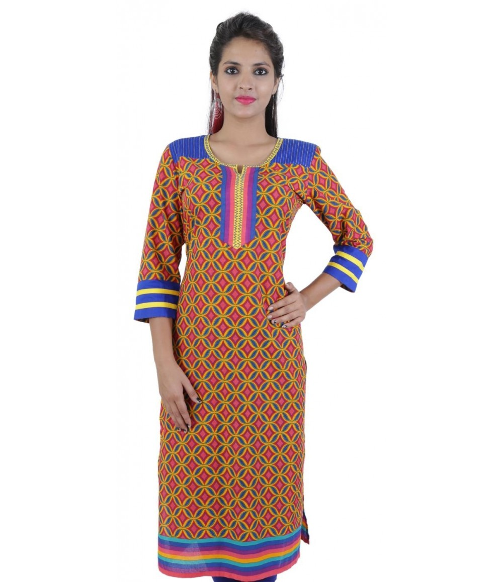 Orange Printed Women's Cotton Kurti