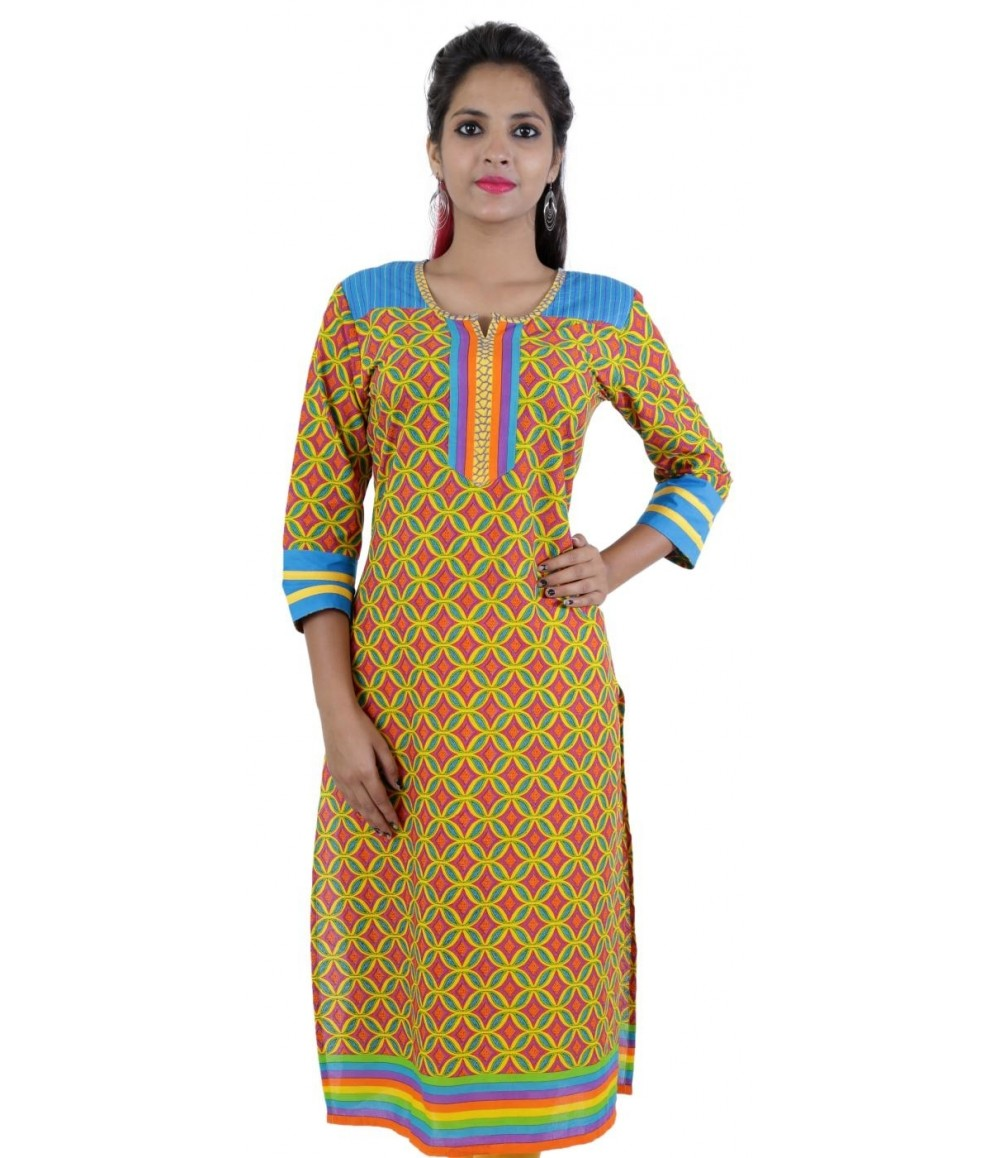 Green Digital Printed Women's Cotton Kurti