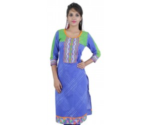Purple Round Neck Women's Cotton Kurti