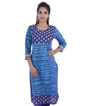 Block Printed Blue Women's Ethnic Kurti