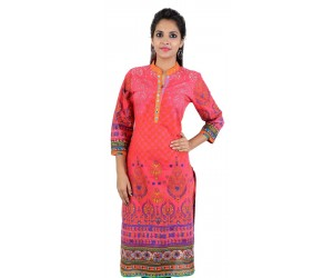 Pink Printed Women's Cotton Kurti
