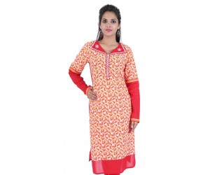 Red Leaf Print Cotton Women's Kurti