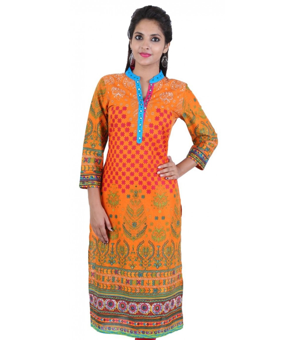 Orange Color Women's Cotton Kurti