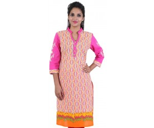 Printed Grey Pink Cotton Women's Kurti