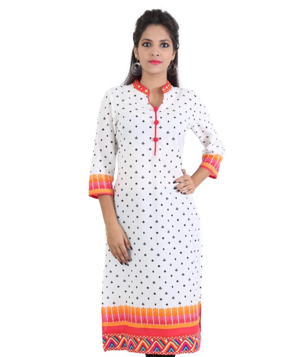 White Orange Mirror Work Neck Women's Kurti