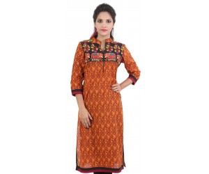 Orange Embroidered Cotton Women's Kurti