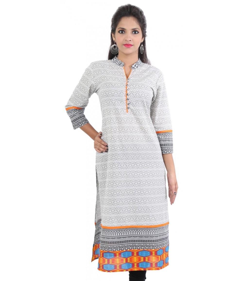 White Orange Printed Women Ethnic kurti