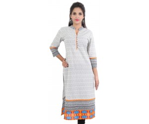 White Orange Printed Women Ethnic kurti