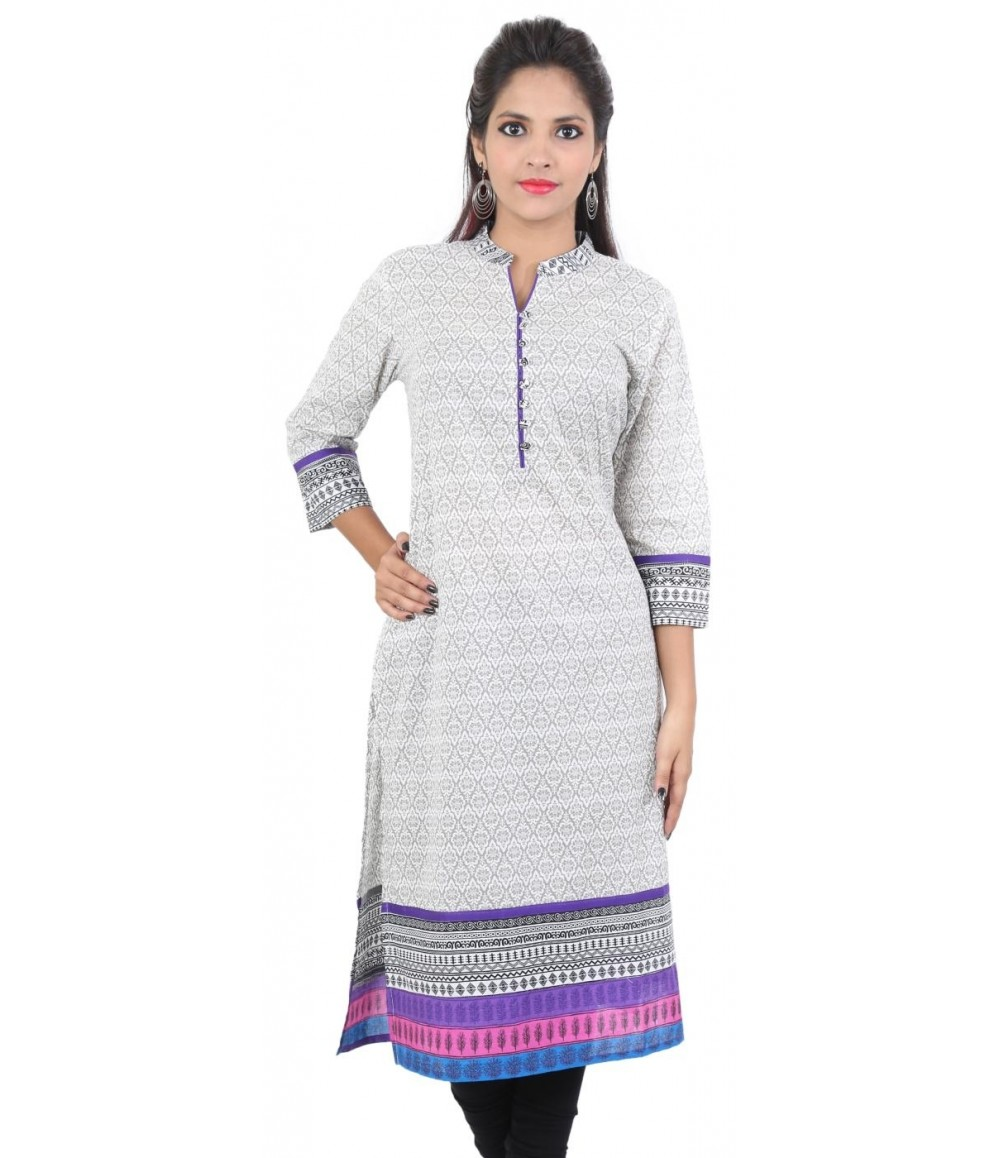 Grey Purple Printed Women Ethnic kurti