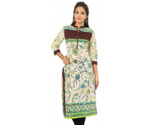 Cream Brown Floral Print Cotton Women's Kurti