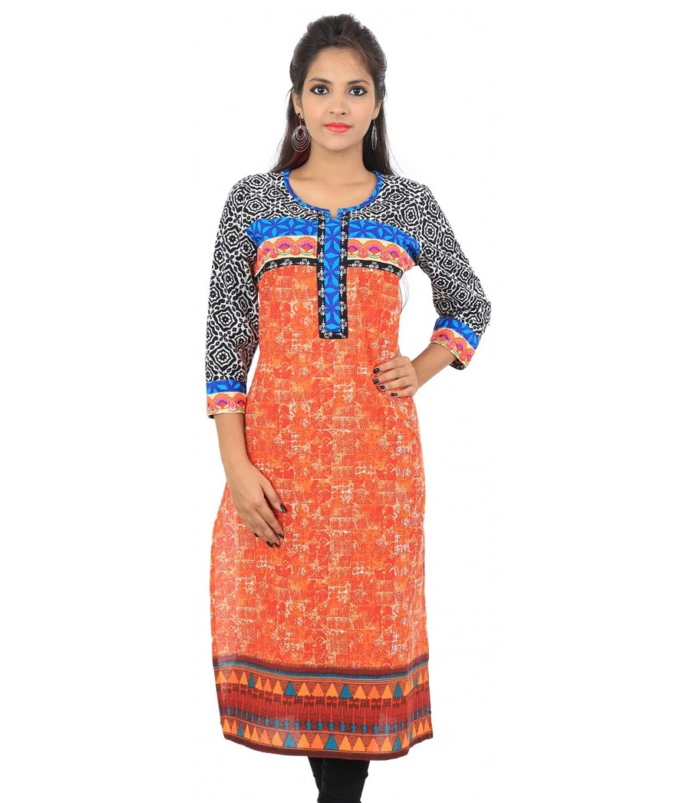 Orange Round Neck Long Women Ethnic Kurti