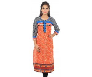 Orange Round Neck Long Women Ethnic Kurti
