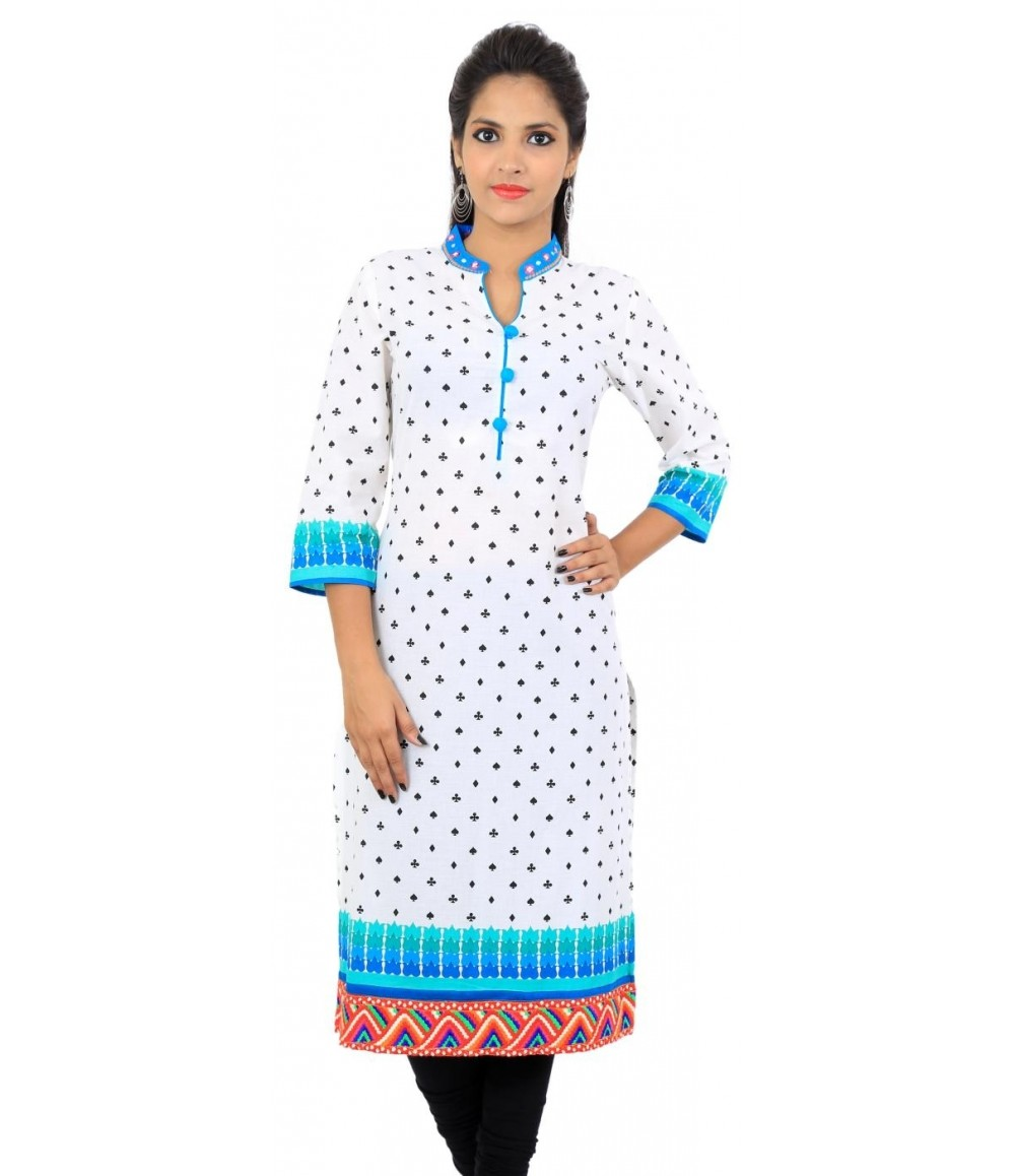White Blue Mirror Work Neck Women's Kurti