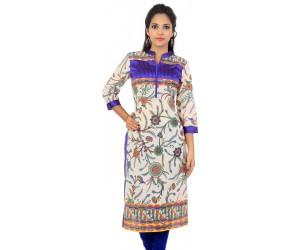 Sir  N Maam Cream Blue Floral Print Cotton Women's Kurti