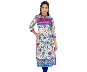 Sir  N Maam Cream Pink Floral Print Cotton Women's Kurti