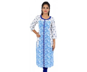 White Blue Floral Print Cotton Women's Kurti