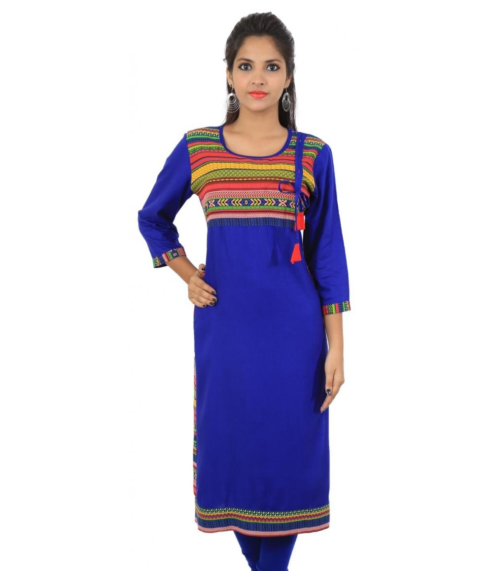 Royal Blue Printed Viscose Women's Kurti