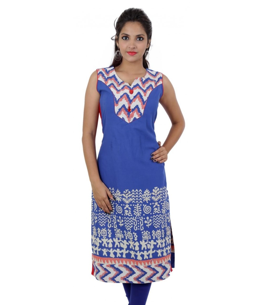 Blue White Printed Sleeveless Cotton Women's Kurti