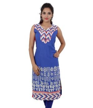 Blue White Printed Sleeveless Cotton Women's Kurti