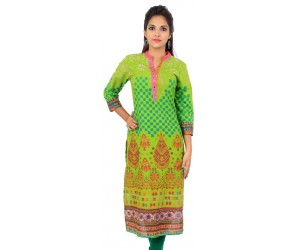 Green Printed Mirror Work Neck Cotton Women's Kurti