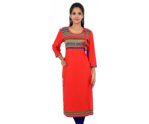 Solid Red Viscose Women's Kurti