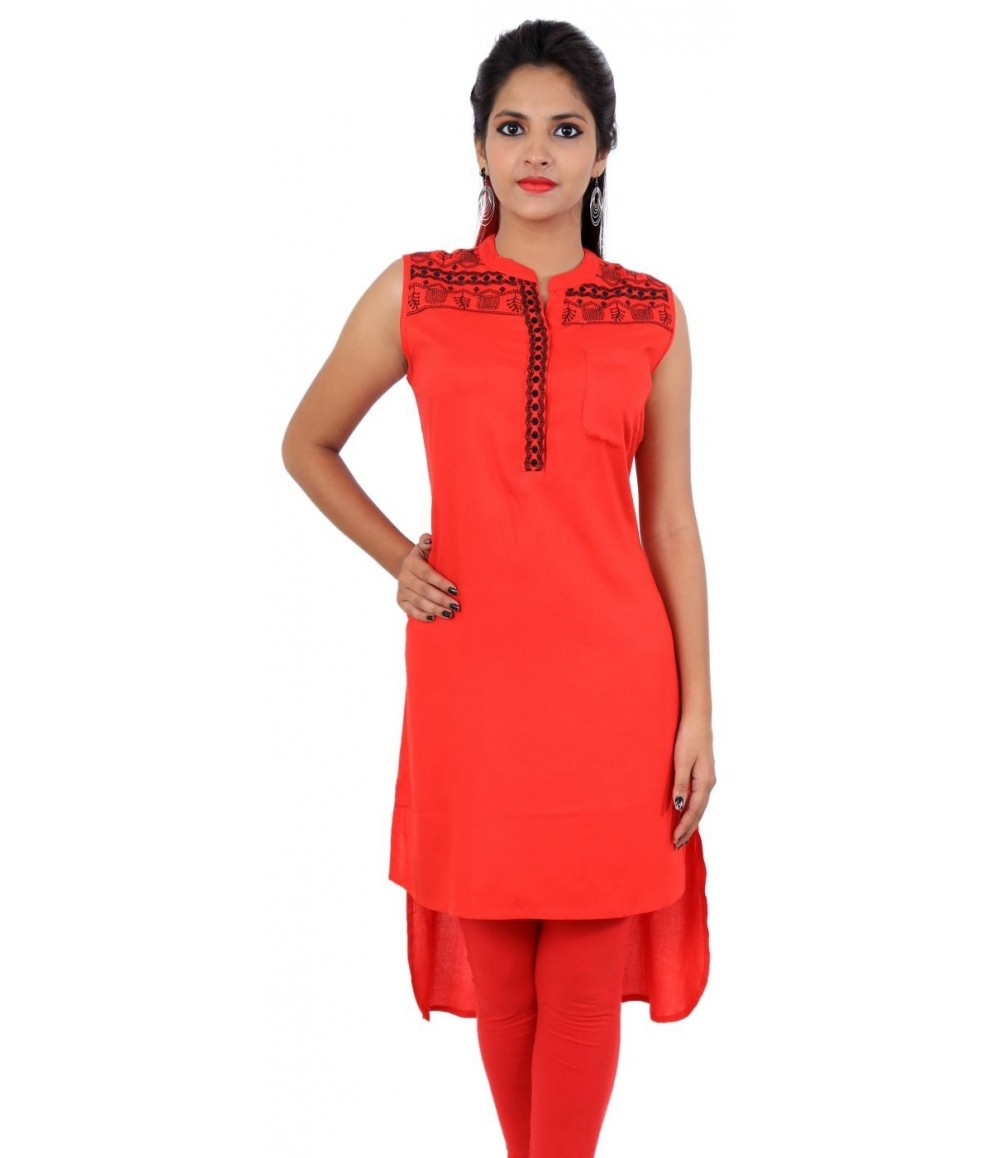 Red Flared Embroidered Sleeveless Women's Kurti