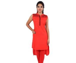 Red Flared Embroidered Sleeveless Women's Kurti
