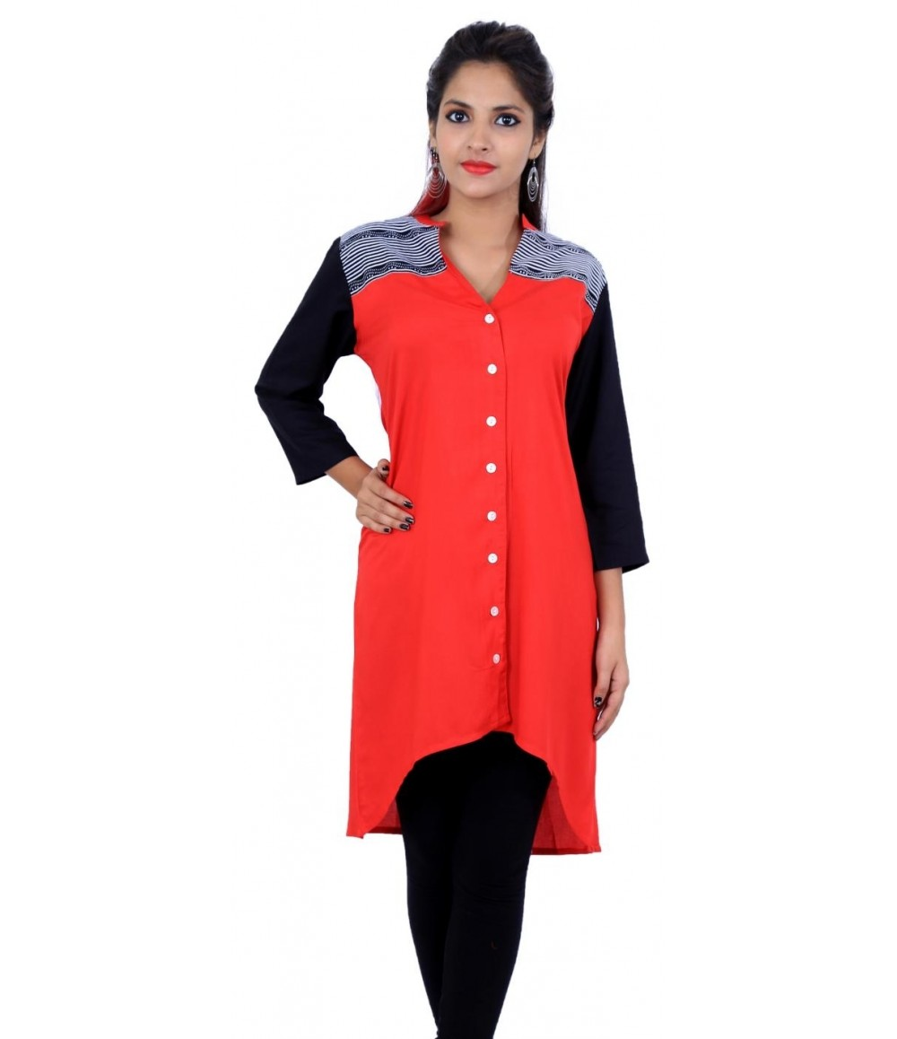Flared Solid Red V-Neck Women's Kurti