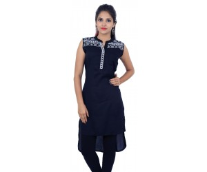 Flared Black Embroidered Sleeveless Women's Kurti