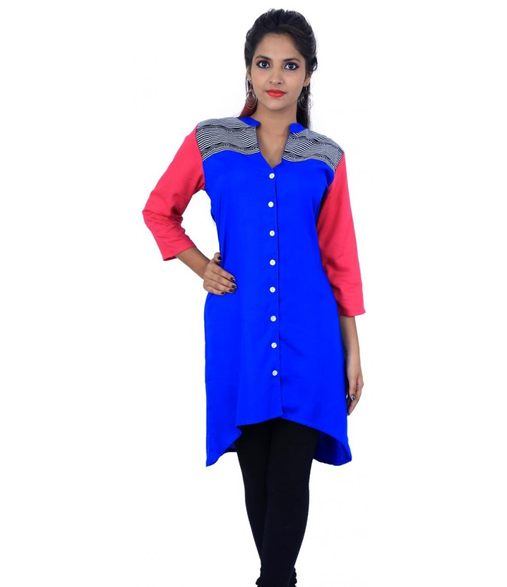 Flared Solid Blue V-Neck Women's Kurti