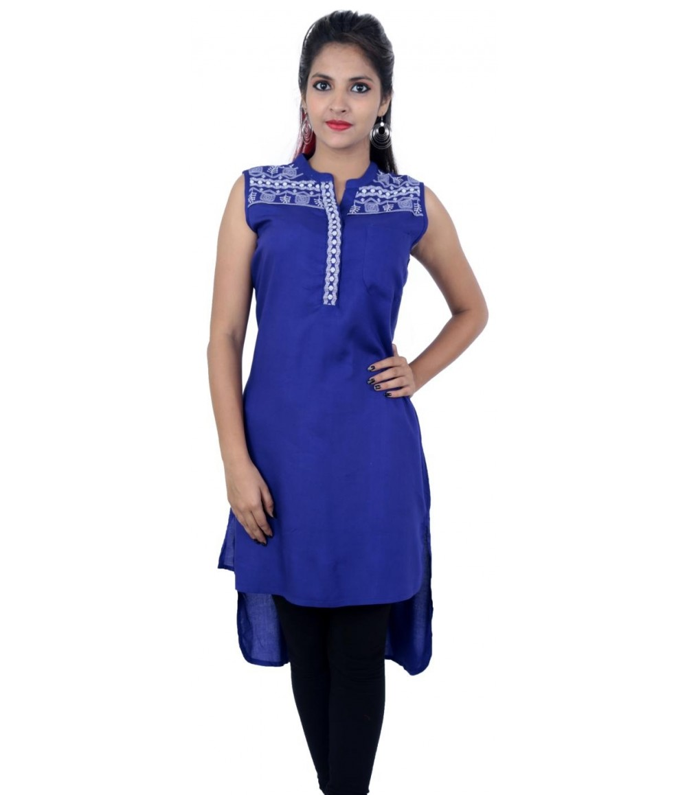 Flared Blue Embroidered Sleeveless Women's Kurti