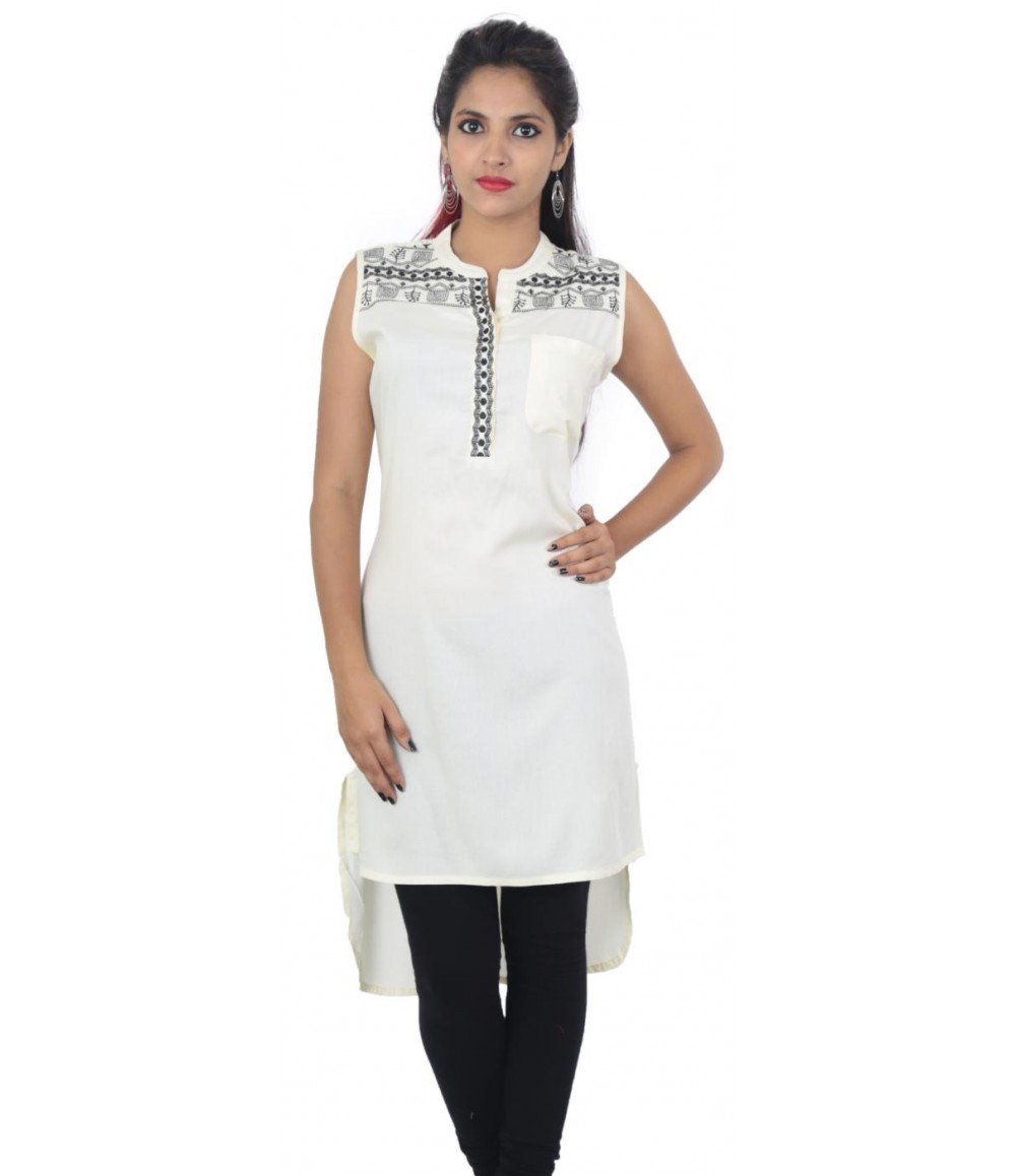 Flared Off-White Embroidered Sleeveless Women's Kurti