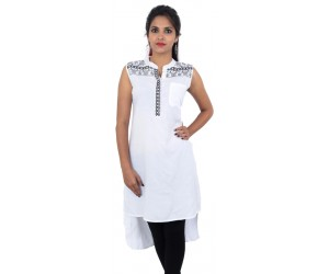 Flared White Embroidered Sleeveless Women's Kurti