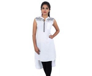 Flared White Embroidered Sleeveless Women's Kurti