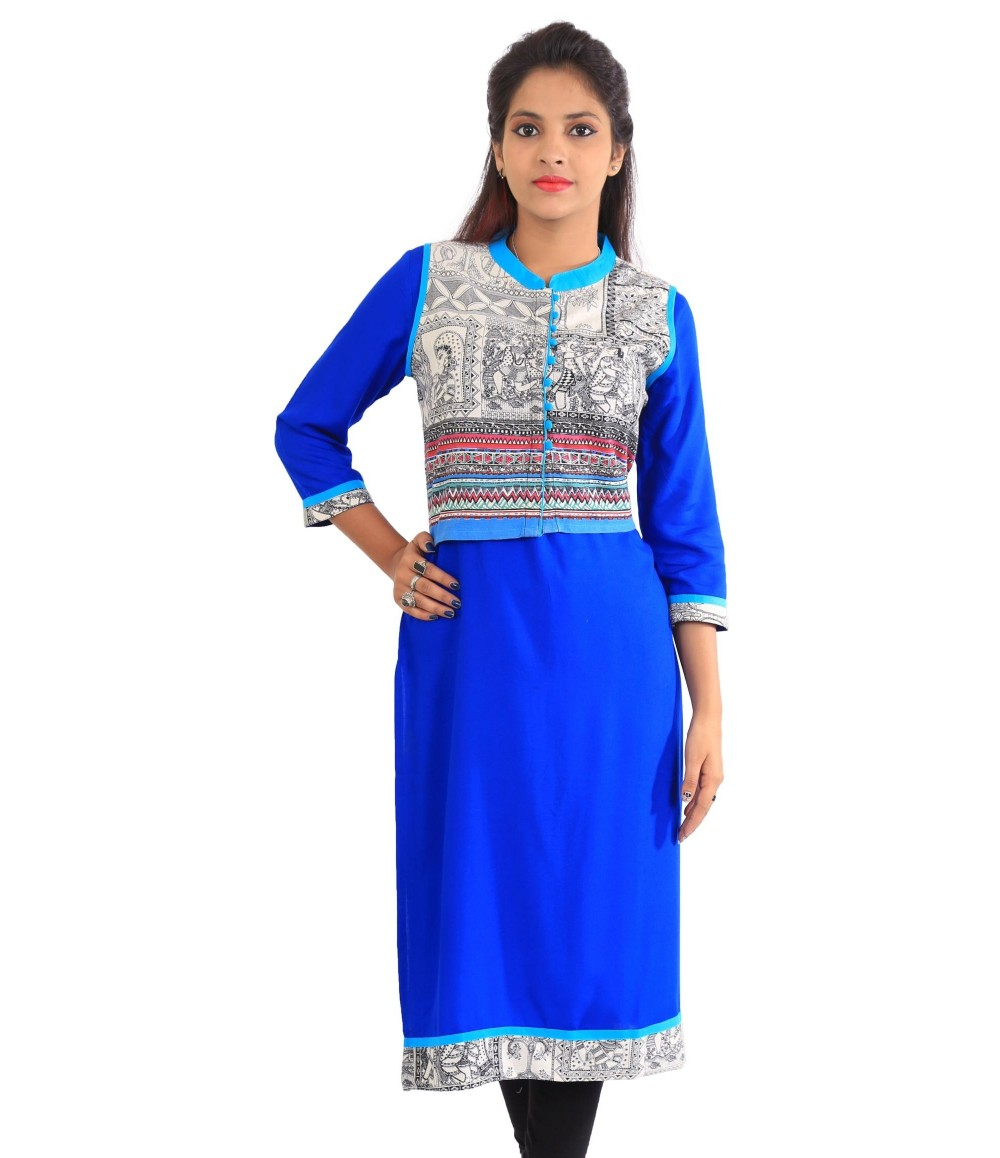 Solid Royal Blue Jacket Style Long Viscose Women's Kurti