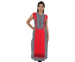 Printed Red Mandarin Collar Sleeveless Women's Kurti