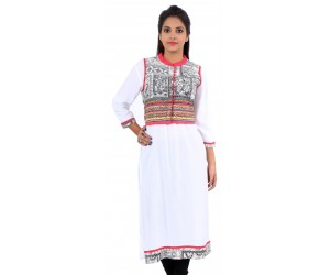 Solid White Jacket Style Long Viscose Women's Kurti
