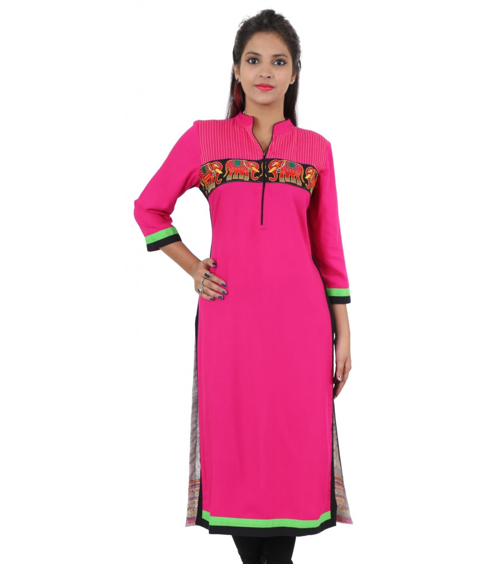 Solid Pink Embroidered Long Viscose Women's Kurti