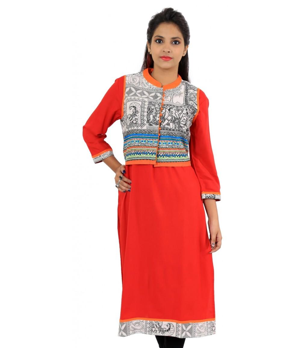 Solid Red Jacket Style Long Viscose Women's Kurti