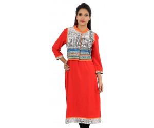 Solid Red Jacket Style Long Viscose Women's Kurti