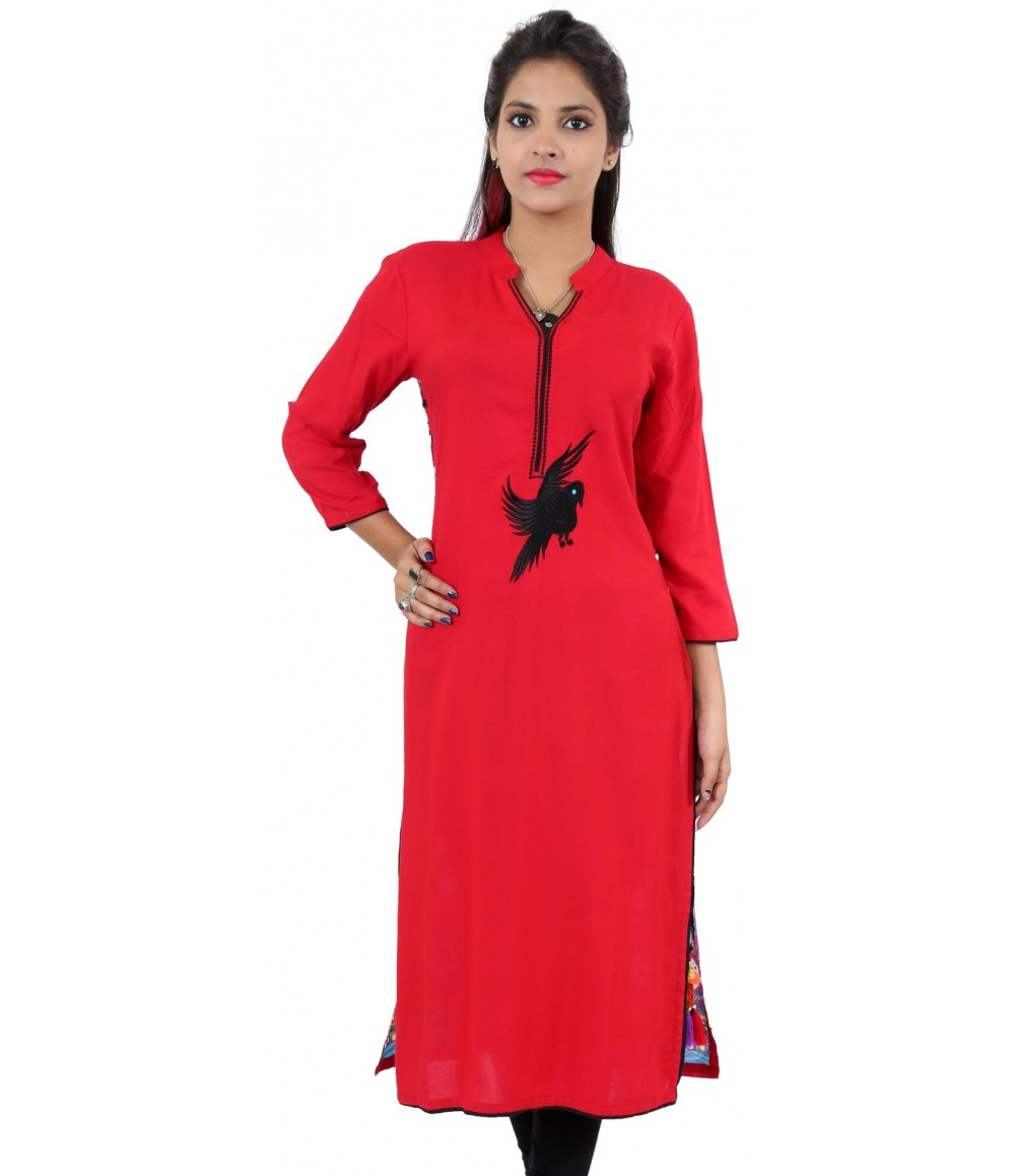 Solid Red Embroidered long Viscose Women's Kurti