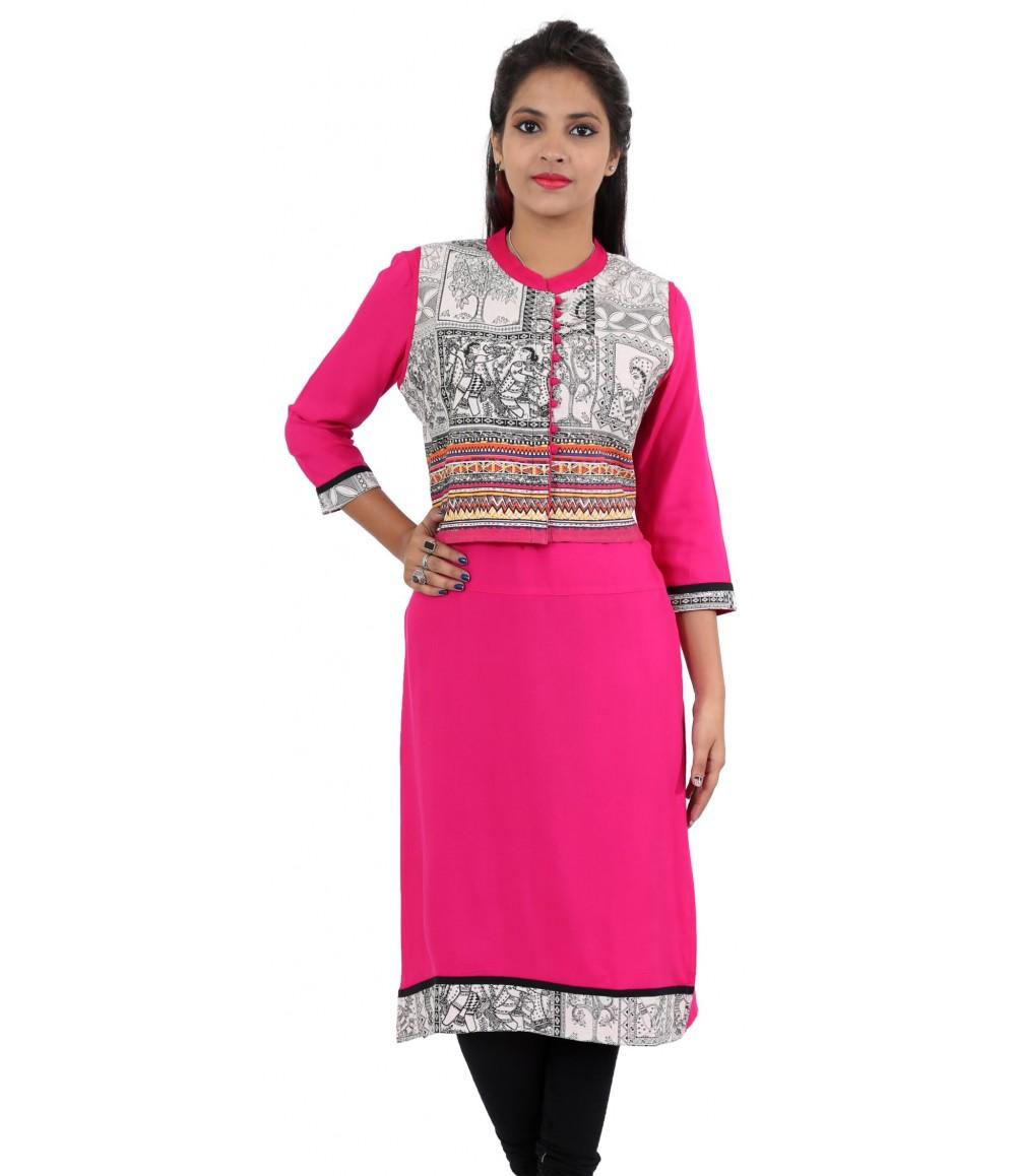 Solid Pink Jacket Style Long Viscose Women's Kurti